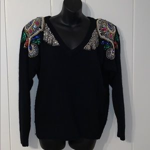 🎉Vtg 80s/90s Joule sweater/beaded & sequined 🎊